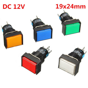16mm DC 12V Push Button Self-reset LED Light Momentary Switches