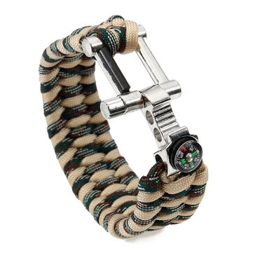 26cm Paracord Survival Kit Bracelet Outdoor Compass Can Opener Scraper Fire Starter