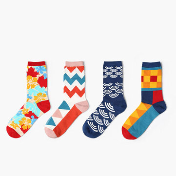 Mens Women British Style Cotton Socks Casual Warm Breathable Middle Tube Socks