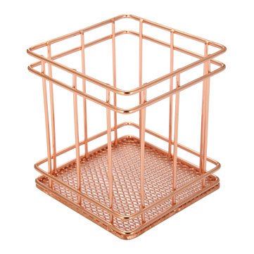 9x9x9.5cm Elegant Rose Gold Square Iron Desktop Storage Case Organizer for Office Home