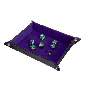 7Pcs Multisided Dice Holder Polyhedral Dices PU Leather Folding Rectangle Tray for RPG