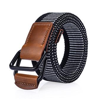 Double anneau cuir alliage boucle ceinture militaire Nylon Bande de pantalon durable Tactical 120cm weaven