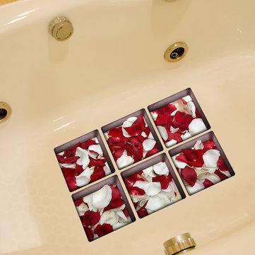 Pag 6pcs 13x13cm patrón roseleaf rojo y blanco 3d antideslizante pegatina bañera impermeable