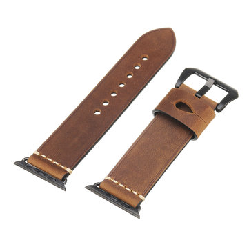 24mm Genuine Leather Watch Band Wrist Strap For Apple Watch Series 1/2/3 42mm