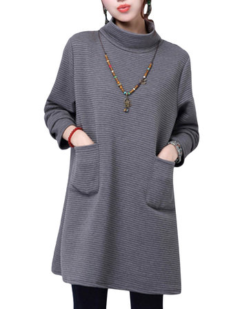 Vintage Solid Round Neck Long Sleeve Thick Loose Dress