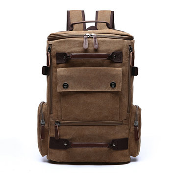 Men Canvas Travel Backpack Vintage Casual Rucksack Large Capacity Hiking Rucksack Business Daypack