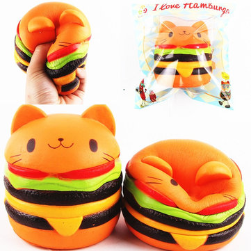 11*10CM Sanqi Elan Squishys Cat Burger Slow Rising Soft Animal Collection Gift Decor Toy Original Packaging