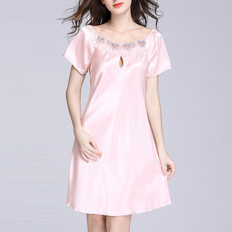 Plus Size Silky Loose Dress Short Sleeves Comfortable Ladies Sleepwear