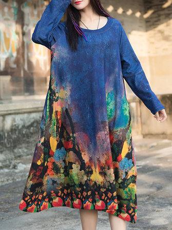 빈티지 여성 인쇄 라인 긴 소매 드레스