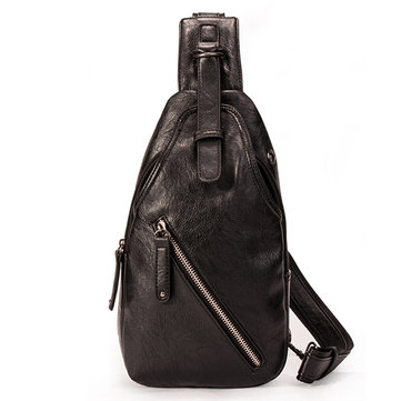 Men Vintage Pu Leather Casual Chest Bag Crossbody Bag
