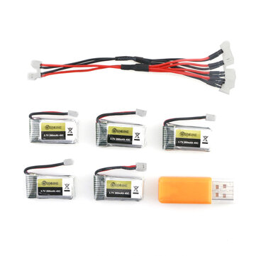 5PCS 3.7V 260MAH 45C Lipo Battery USB Charger Set for Eachine E010 E010C E011 E011C E013 JJRC H67