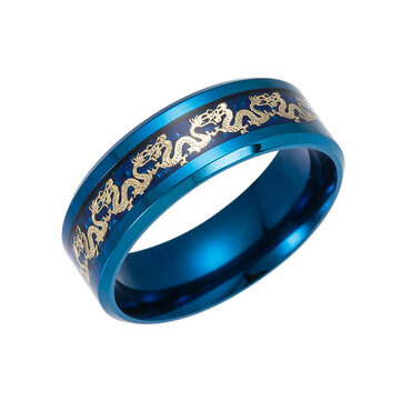 Ethnic Chinese Dragon Pattern Finger Ring Retro Titanium Steel Finger Rings Fashion Jewerly For Men