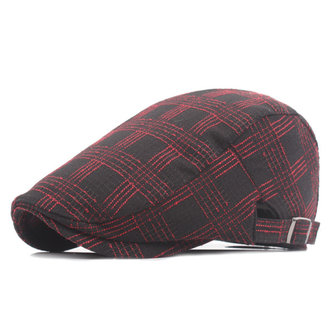 Unisex Cotton Grid Beret Hat Buckle Adjustable Fashion Newsboy Cabbie Golf Gentleman Cap