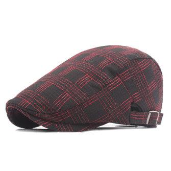 Unisex Cotton Grid Beret Chapeau Boucle Adjustable Fashion Newsboy Cabbie Golf Gentleman Cap