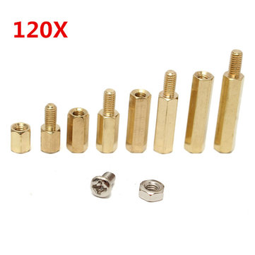 Suleve™ M3BH2 M3 Male-Female Brass Hex Column Standoff Support Spacer Pillar For PCB Board 120pcs