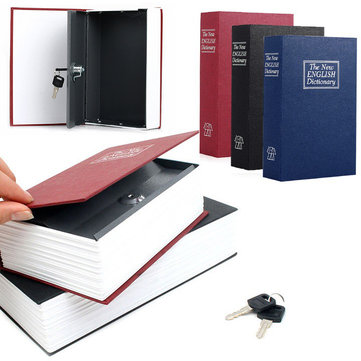 Creative Safe Storage Box Case Dictionary Book Safe Cash Secure Metal Steel With Keys