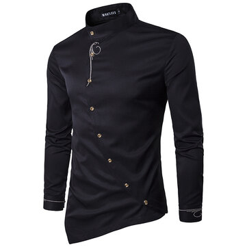 Unique Slanted Placket Irregular Henry Collar Slim Designer Shirts for Men