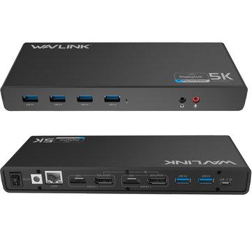 Wavlink WL-UG69DK1 15 Ports USB 3.0 Type-C 4K HDMI DP Gigabit RJ45 Audio Docking Station Hub