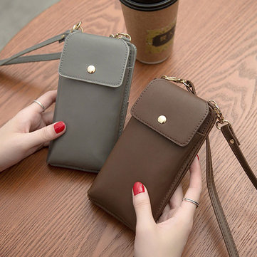 Women Pure Color PU Leather 5.5inch Phone Bag Wallet Crossbody Bag Purse