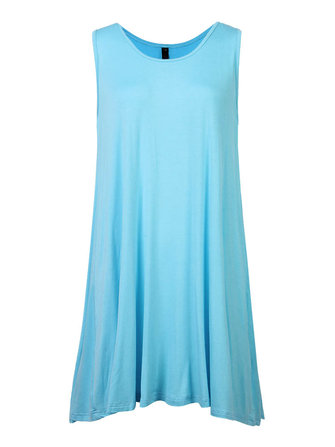 Casual Women Pure Color O-Neck Sleeveless Loose Vest Dress