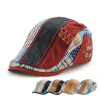 Men Cotton Washed Beret Hat Buckle