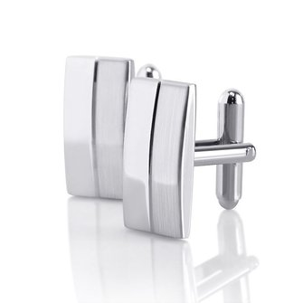 Men Male Silver Rectangle Cuff Links Wedding Gift Suit Shirt Accessories