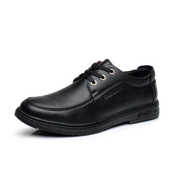 Men Casual Leather Shoes Business Breathable Fashion Lace Up Oxfords