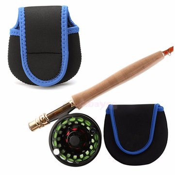 Nylon Fly Fishing Reel Storage Bag Protective Cover Case Pouch Holder Black