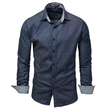 Men Polka Dot Turn-down Collar Long Sleeve Shirts