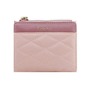 Zipper Women Wallets Two Fold Weave Short Clutch Wallet