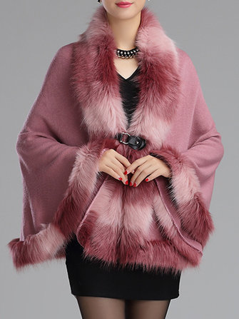 Elegant Warm Bats Sleeve Women Faux Fur Coats