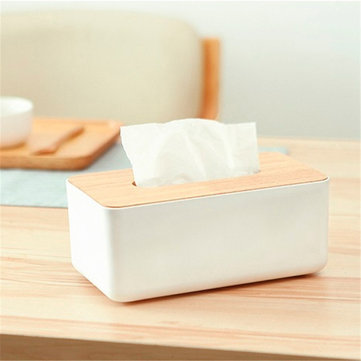 Wooden Tissue Box Dispenser Cover Paper Storage Holder Napkin Case Organizer