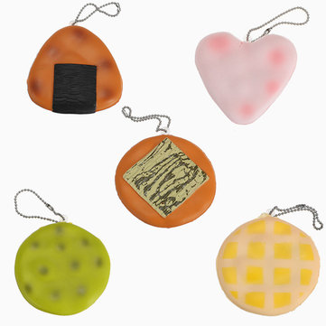 5PCS 6cm Squishy Sound Crack Biscuit Cookie Pendant Japanese Style Cracker Kids Gift With Packaging