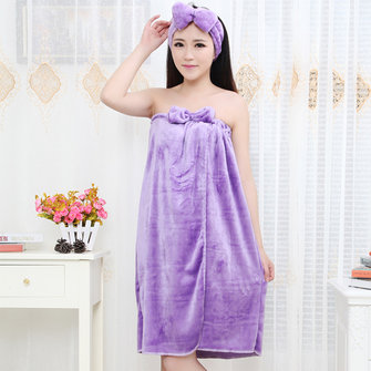 Sexy Off Shoulder Flannel Bathrobe Comfy Breathable Keep Warm Nightdress For Women
