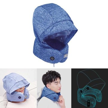Smart bluetooth Folding Neck Pillow Headset Earphone Airplane Travel Massage Rest Sleep Headrest