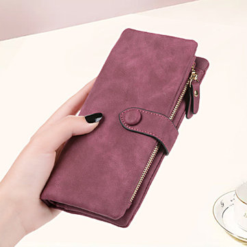 Retro Matte Buckle Ladies Wallet Bulk Card Holder Purse Clutch Bag