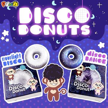 Puni Maru Squishy Shiny Disco Glitter Donuts 9cm Toy Mini Donut Slow Rising With Packing Box