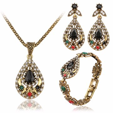 Vintage Water Drop Jewelry Set Hollow Rhinestone Bracelet Necklace Earring Ethnic Jewelry for Women