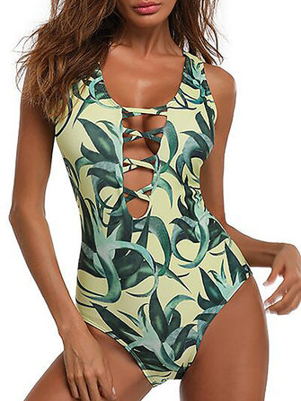 sexy hollow out padding one piece swimsuit printing swimwear