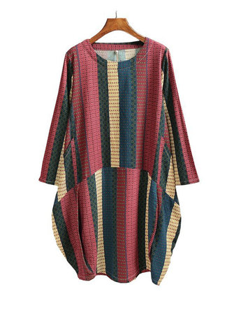 Printed Patchwork O-Neck Dress