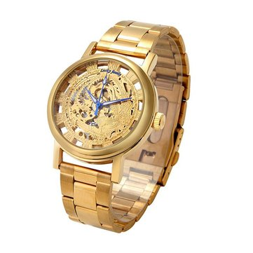 LUCKYFAMILY Luxury Men Watch Hollow Phoenix Self-winding Mechanical Watch
