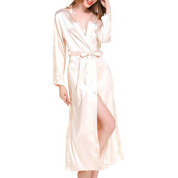 Women Lace Smooth Silk-like Leisure Breathable Bath Robe
