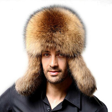 Mens Winter Thickening Warm Faux Fur Hats Earmuffs Earflaps Outdoor Windproof Russian Cap