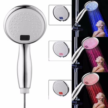 Bathroom Shower Led Handheld Shower Head 3 Colors Led Shower Head Temperature Digital Display Water