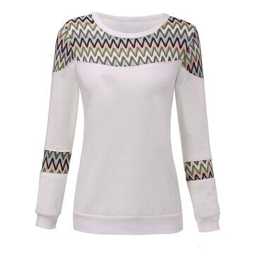 Velvet Thick Geometric Patchwork Round Neck Women Pullover Sweatshirt