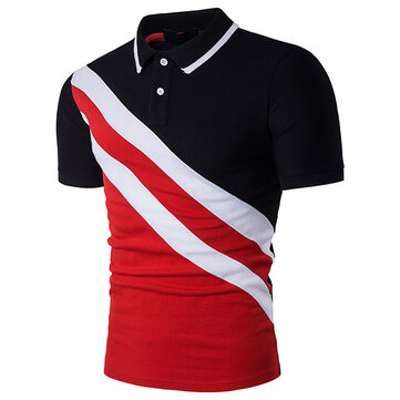 Fashion Oblique Stripes Stitching Lapel Golf Shirt