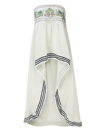 Elegant Women Beach Printing Pleated Irregular Hem Maxi Skirt