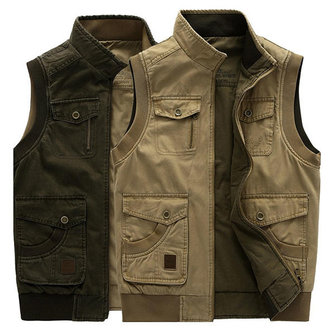 Mens Big Size Casual Outdoors Washed Double Sided Wear Multifunctions Vest