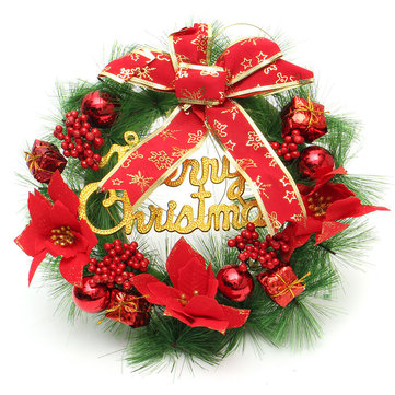 30cm Red Plastic Christmas Wreath Ring Tree Home Decorative Festival Flower Ring