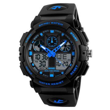SKMEI 1270 남자 시계 듀얼 디스플레이 스톱워치 알람 스포츠 패션 남성 쿼츠 디지털 시계